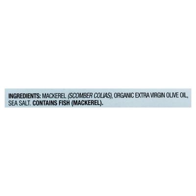 Wild Planet Mackerel, Wild, in Extra Virgin Olive Oil, Fillets