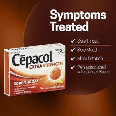 Cepacol® Extra Strength Sore Throat Relief Lozenges, Honey Lemon Flavor, Maximum Numbing