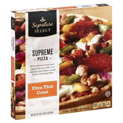 Signature Select Ultra Thin Crust Supreme Rich Traditional Tomato Sauce Topped With Mozzarella Cheese, Spicy Italian Sausage, Zesty Pepperoni, And Fire Roasted Red, Green & Yellow Peppers And Onions Pizza