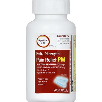 Signature Pain Relief PM, Extra Strength, Caplets