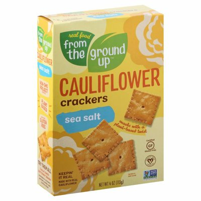 Real Food From The Ground Up Cauliflower Crackers, Sea Salt