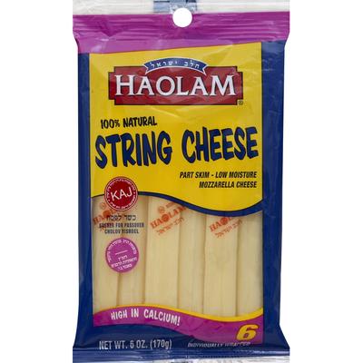Haolam String Cheese, Low Moisture, Mozzarella, Part Skim