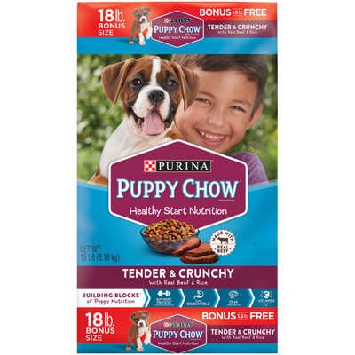 Purina Puppy Chow High Protein Dry Puppy Food, Tender & Crunchy With Real Beef