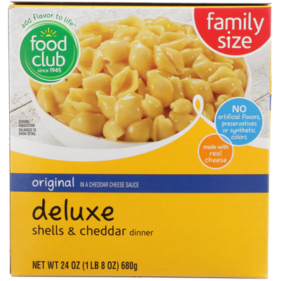 Food Club Original In A Cheddar Cheese Sauce Deluxe Shells & Cheddar Dinner