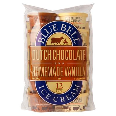Blue Bell Dutch Chocolate and Homemade Vanilla Ice Cream Cups