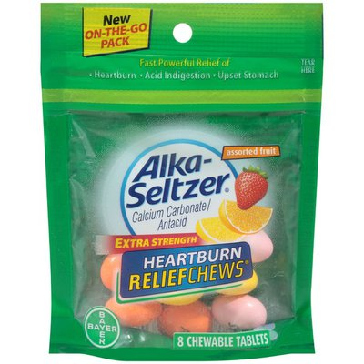 Alka-Seltzer Heartburn, Extra Strength,  Assorted Fruit, Chewable Tablets, On-the-Go Pack
