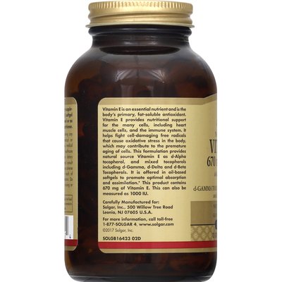 Solgar Vitamin E, 670 mg, Softgels