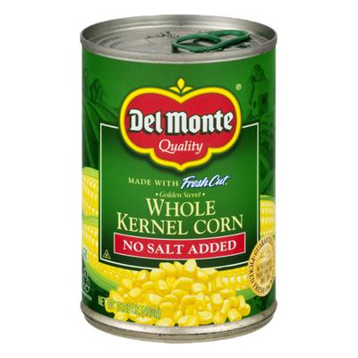 Del Monte Corn, No Salt Added, Golden Sweet, Whole Kernel