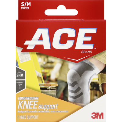 3M ACE™ Brand Compression Knee Support, Small/Medium, White/Gray, 1/Pack
