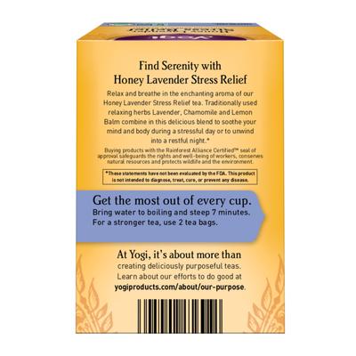 Yogi Tea Herbal Tea, Honey Lavender Stress Relief Tea, Soothing Serenity Blend