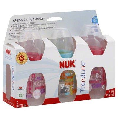 NUK Bottles, Orthodontic, Silicone, Slow, 5 oz, 0+ M