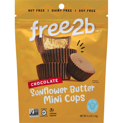 free2b Sunflower Butter Mini Cups, Chocolate