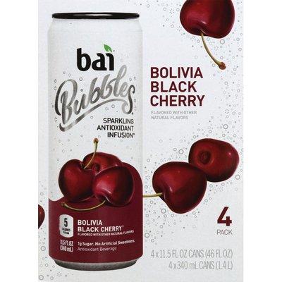 Bai Antioxidant Beverage, Bolivia Black Cherry, Bubbles, 4 Pack