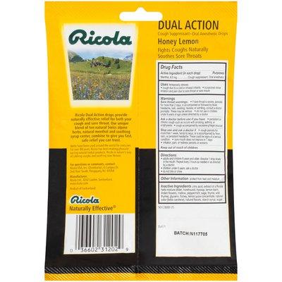 Ricola Dual Action Honey-Lemon Cough Suppressant Oral Anesthetic Drops
