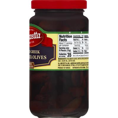 Mezzetta Olives, Greek Kalamata, Sliced