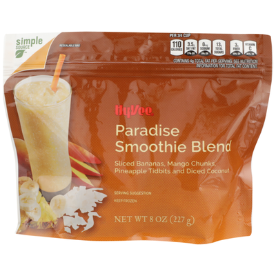 Hy-Vee Paradise Smoothie Blend Sliced Bananas, Mango Chunks, Pineapple Tidbits And Diced Coconut