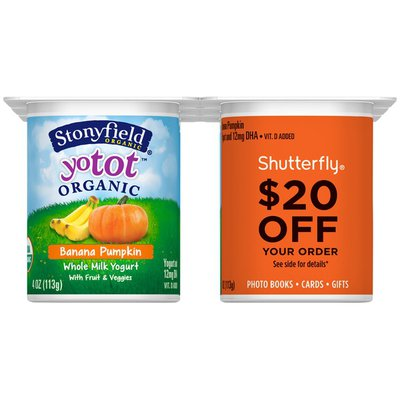 Stonyfield Organic YoTot Banana Pumpkin with Fruit & Veggies Organic Whole Milk Shutterfly Promo Organic Yogurt