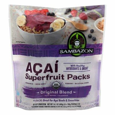 Sambazon Superfruit Packs, Acai, Original Blend, 4 Pack