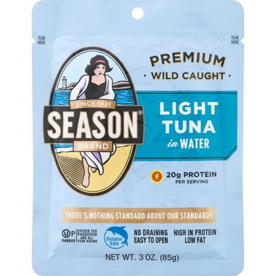 Season Brand Light Tuna, in Water, Premium, Wild Caught