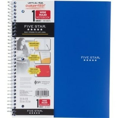 Five Star Notebook, Wide Ruled, 1 Subject