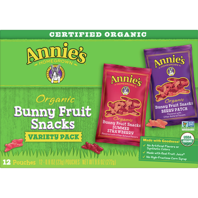 Annie's Organic Bunny Fruit Snacks, Variety Pack, Gluten Free, 12 Count