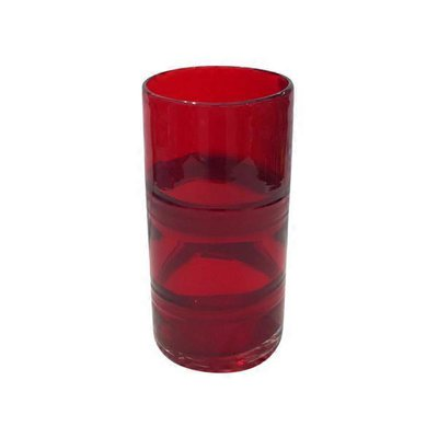 """8"""" Red Glass Mono Floral Vase"""