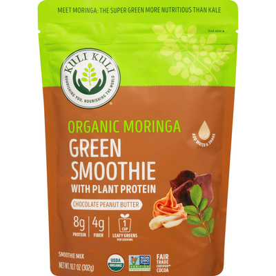 Kuli Kuli Green Smoothie Mix, with Plant Protein, Chocolate Peanut Butter, Organic Moringa