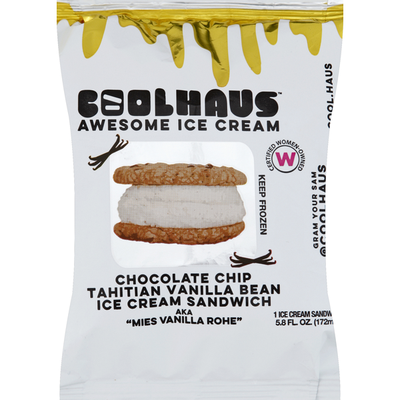 Coolhaus Ice Cream Sandwich, Chocolate Chip, Tahitian Vanilla Bean