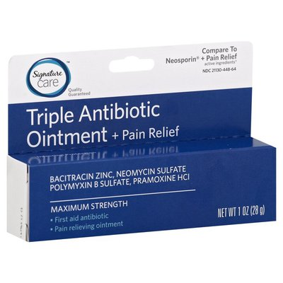 Signature Care MAXIMUM STRENGTH BACITRACIN ZINC, NEOMYCIN SULFATE, POLYMYXIN B SULFATE, PRAMOXINE HCI Triple Antibiotic +Pain Relief Ointment
