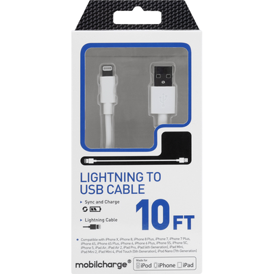 MobileCharge Cable, Lightning to USB, White, 10 Feet