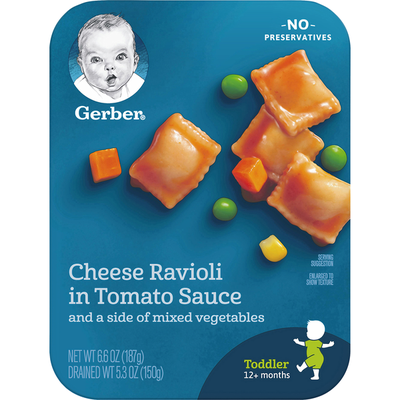 Gerber Cheese Ravioli in Tomato Sauce with Mixed Vegetables