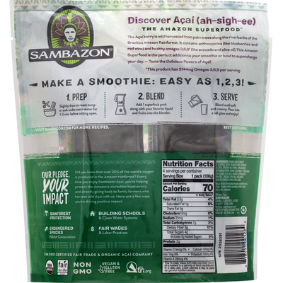 Sambazon Supergreens Acai, Kale & Spinach Superfruit Packs