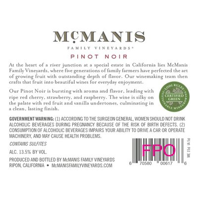 McManis Family Vineyards McManis Pinot Noir Red Wine