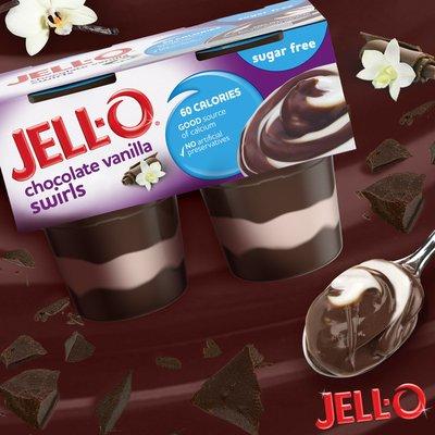 Jell-O Chocolate Vanilla Swirls Sugar Free Ready-to-Eat Pudding Cups Snack