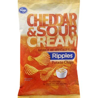 Kroger Potato Chips, Cheddar & Sour Cream, Ripples