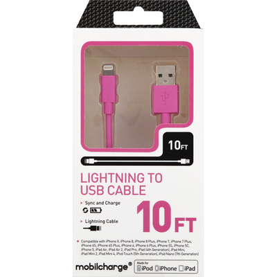 Mobilcharge Cable, Lightning to USB, 10 Feet
