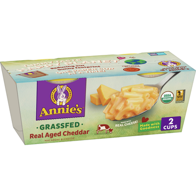 Annie's Organic Macaroni and Cheese, Grassfed Aged Cheddar, Microwavable