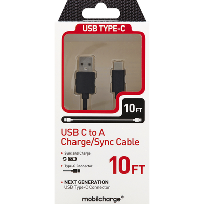 Mobilcharge Charge/Sync Cable, USB C to A, 10 Feet