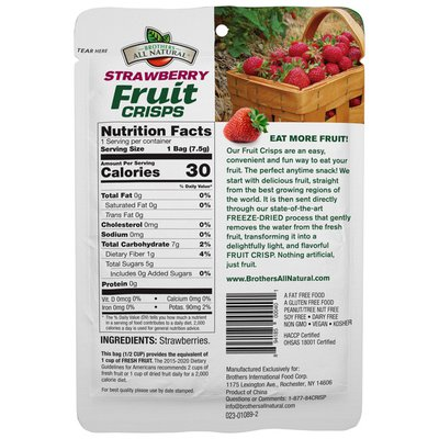 Brothers All Natural Freeze-Dried Strawberry Fruit Crisps