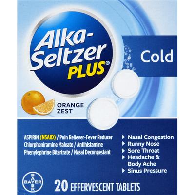Alka-Seltzer Cold, Effervescent Tablets, Orange Zest