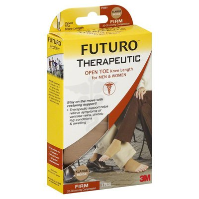 FUTURO Stockings, Firm (20-30 mm/Hg Compression), Open Toe Knee Length, XLarge, Beige