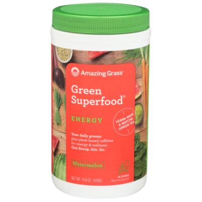 Amazing Grass Green Superfood ENERGY plus plant-based caffeine for energy & wellness Whole Food Supplement Powder, Watermelon