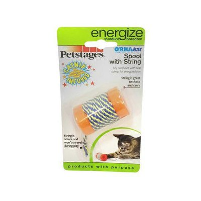 """Petstages Orkakat Spool With String Cat Toy 2"""" L X 1.25"""" W"""