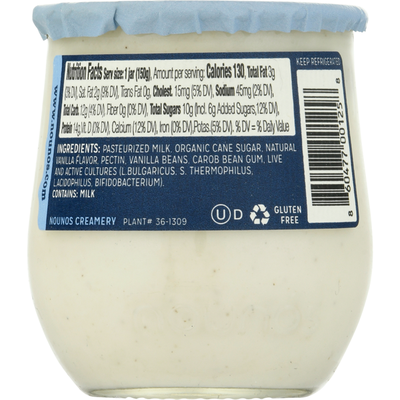 Nounos Yogurt, Greek, Vanilla Bean, Strained