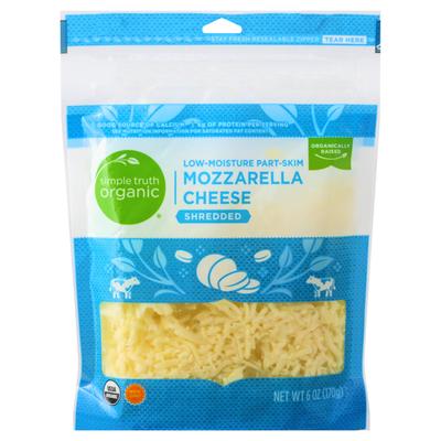 Simple Truth Organic Shredded Cheese, Part-Skim, Mozzarella, Low-Moisture