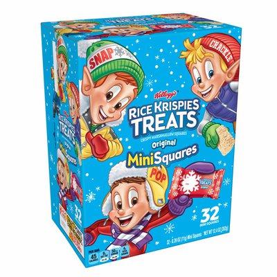 Kellogg's Rice Krispies Treats Mini Marshmallow Snack Bars, Kids Snacks, Winter Holiday Pack