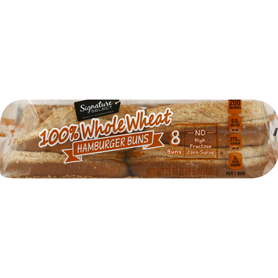 Signature Select Hamburger Buns, 100% Whole Wheat