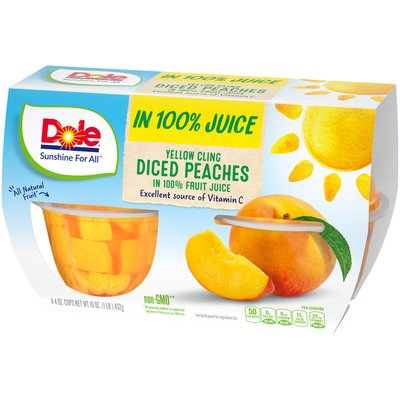 Dole Yellow Cling Diced Peaches in 100% Fruit Juice Cups