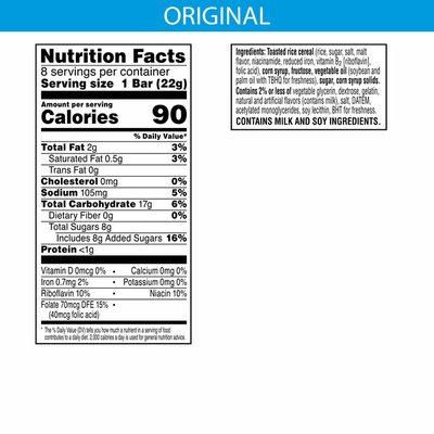 Kellogg's Rice Krispies Treats Marshmallow Snack Bars, Kids Snacks, School Lunch, Original