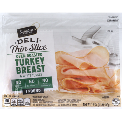 Signature Select Turkey Breast & White Turkey, Oven Roasted, Deli Thin Slice